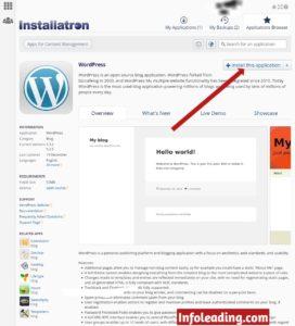 Installing WordPress application