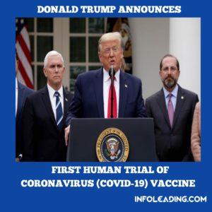 USA President Donald Trump Speaks On First Human Trial Of Coronavirus (COVID-19)